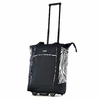 "Olympia 20"" Fashion Rolling Carry-On Wheeled Shopper Suitcase Tote Bag Zebra"