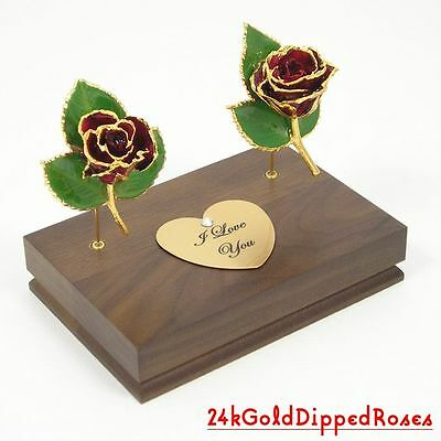 "Two 3"" 24k Gold Dipped Burgundy Roses & Stand (Free Anniversary Gift Box)"