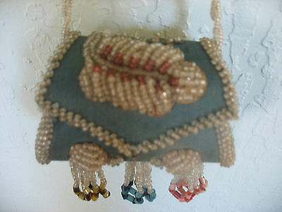Iroquois Whimsey Heavy Beaded Blue Purse Excellent c 1900