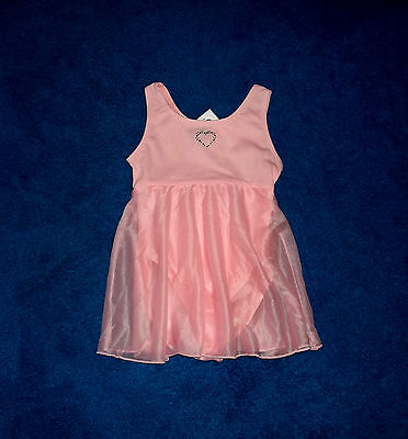 Girls Lt Pink Silver Bling Dance Skating Leotard Outfit Size 4 - 5 Xsmall Nwt