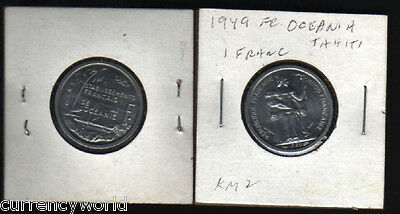 French Oceania 1 Franc KM2 1949 Boat UNC France Currency Money Coin Free Ship