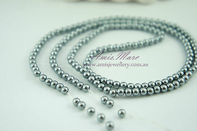 *180pcs Beads 4mm Medium Grey Color Imitation Acrylic Loose Round Pearl Spacer