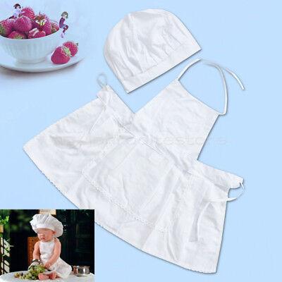 Trendy White Chef Cook Hat and Apron For Baby Infant Toddler Photography Dressup