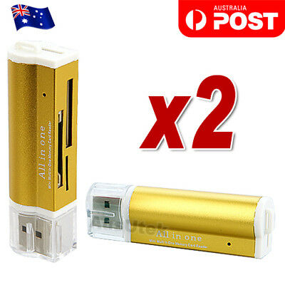 Gold All in One Aluminium Card Reader SDHC Micro SD T-Flash Memory Stick M2 MS