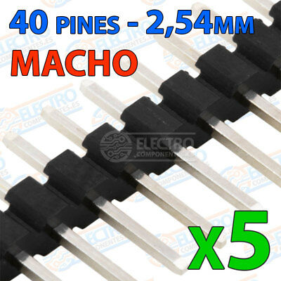 5x Tira 40 pines 2,54mm simple MACHO color NEGRO - single row soldar