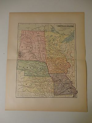 Engraved Antique map of the Central States (West.Part)/1883 by Charles M. Green