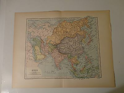 Engraved Antique map of Asia, 1883 by Charles M. Green
