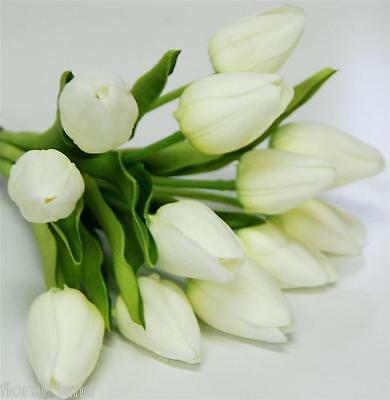 Wedding Bouquet Artificial Flower Latex Real Touch White Tulip Bunch Flowers