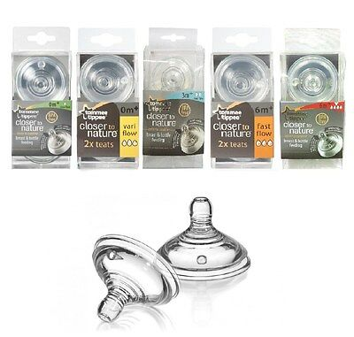 Tommee Tippee Bottle Nipples Teats 0m+ 3m+ 6m+ x 2pc Closer To Nature Free Ship