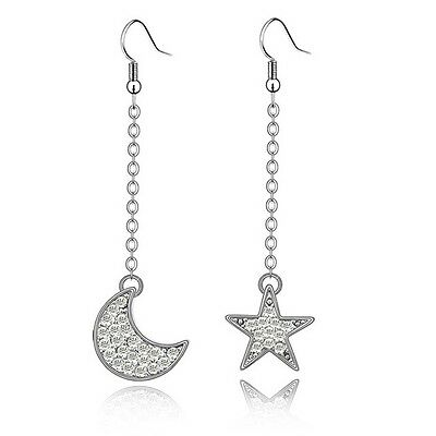 18K White Gold Plated Made With Swarovski Crystal Star With Moon Dangle Earrings
