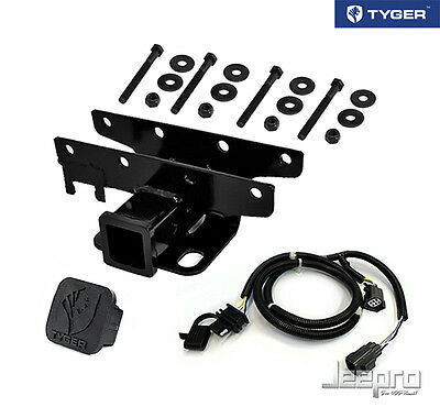 TYGER Towing Kit: 2inch Receiver Hitch & Wiring & Cover Fits 07-14 Wrangler JK