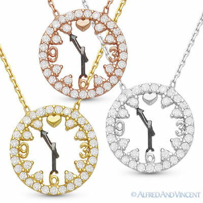 Clock Charm CZ Crystal Ladies Fashion Pendant 925 Sterling Silver Chain Necklace