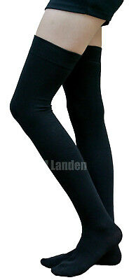 AM Landen®BLACK Cotton Thigh High Socks Available in Size:S,M,L,XL and XL-Wide