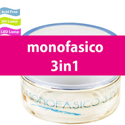 GEL UV LED MONOFASICO 15 ml  RICOSTRUZIONE UNGHIE NAILART MEDIA DENSITA'