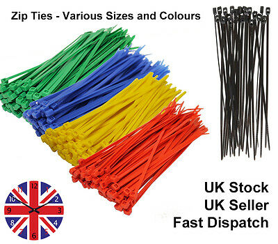 100 x Plastic Cable Ties Tie Wraps Zipties Strong Short and Long
