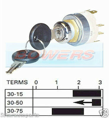 12V Universal 4 Position Ignition Switch With 2 Keys Lucas Spb501 Equivalent