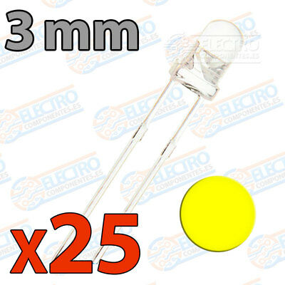 25x LED 3mm AMARILLO Alto Ultra Brillo ultrabright 20mA diodo diode yellow