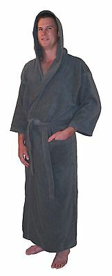 839afda0ef Bathrobe Hooded Turkish Cotton Terry Full Ankle Length Mens Womens Robe-  Gray