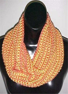 Hand Crochet Peach/Yellow Loop Infinity Scarf/Neck Warmer #700 New