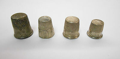 Lot Of Four Vintage Sterling Silver Sewing Thimbles **
