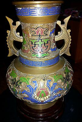 "Antique Asian Cloisone Hand Carved Brass Bronze Enamel Champleve Vase 9 1/2""inch"