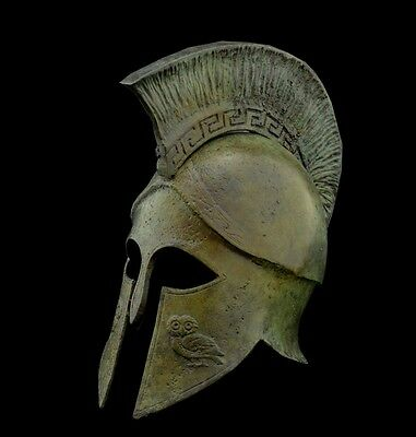 Greek Spartan Corinthian Bronze Small Helmet - Goddess Athena Owl -Antique Style