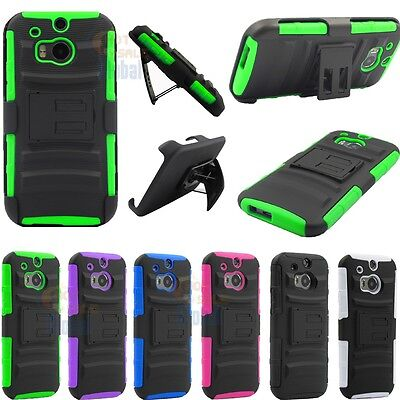 For 2014 HTC One M8 Combo Hybrid ShockProof Impact Stand Case Cover /w Holster