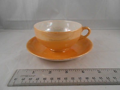 T A JAPAN CUP AND SAUCER SET ORANGE LUSTER IRIDESCENT SHEEN GLAZE TEACUP PRETTY