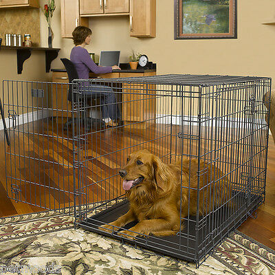 """Dog Crate Metal Wire Cage Strong TRIPLE-Door Kennel Pet MidWest Select 42"""" L"""