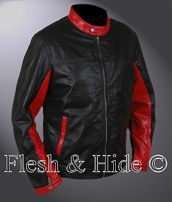 Batman The Dark Knight Rises Bruce Wayne Retro Black Red Biker Motorcycle Jacket