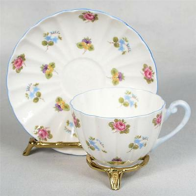 SHELLEY TEACUP & SAUCER - WHITE/BLUE TRIM DECORATED WITH ROSES & FORGET ME NOTS