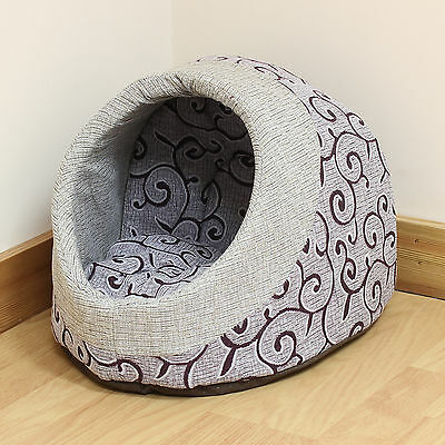 Pet Cat/Kitten Soft Grey/Purple Pattern Plush Igloo Bed Warm Cave/House/Mat/Snug