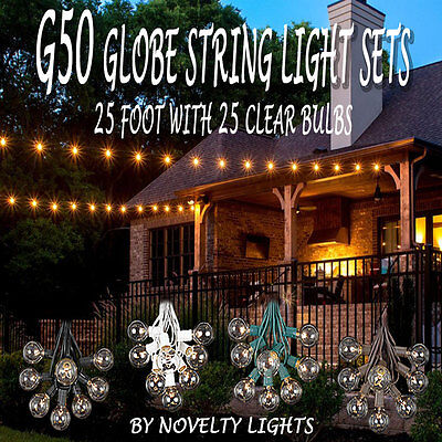 25 Foot G50 Outdoor Patio Globe String Lights   Set Of 25 G50 Clear Bulbs