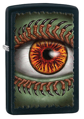 Zippo Black Matte Green Eye Ball Windproof Lighter 28668 New