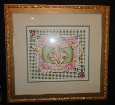 Mary Engelbreit Framed Teapot Print Limited Edition 1447/2000 Rare Mint!