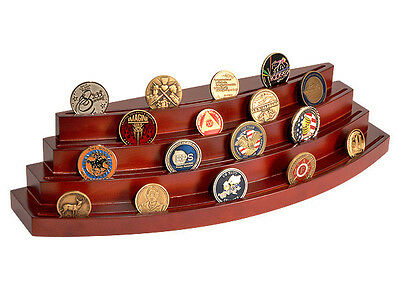 NEW Four Level Rosewood Coin Display Stand Rack. 70013.