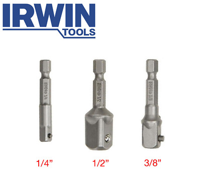 3x Irwin Square Drive Socket Adapters with Ball Retention (1/2 1/4 & 3/8)""