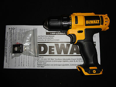 "DEWALT DCD710 12 VOLT MAX 12V 3/8"" DRILL DRIVER NEW W/ BELT HOOK"