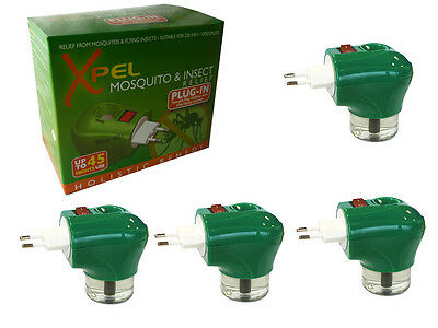 4 x XPEL Mosquito Insect Repellent 2 Pin TRAVEL PLUG IN & REFILL - LASTS 45 DAYS
