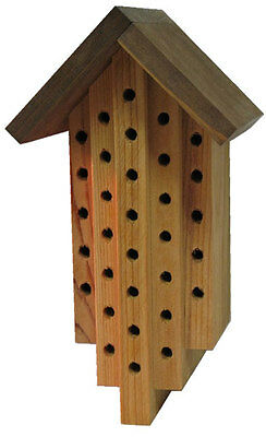 Western Red Cedar Mason Bee House: Circular Hollow Chambers, Weather-Resistant
