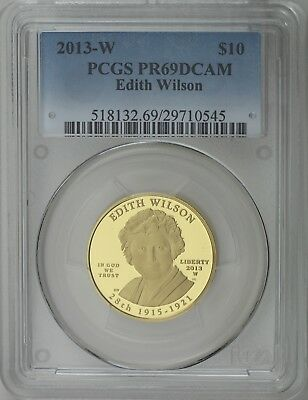 2013 W $10 Edith Wilson First Spouse ½ oz 99.99% Pure Gold Proof PCGS PR69DCAM