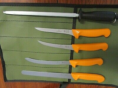 Swibo 5 Knife Boat Set Swiss Hard Stainless With Scabbard And Aussie Canvas Wrap