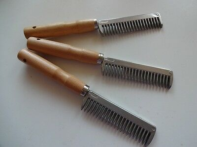 Metal Mane Pulling Comb Horse Pony Grooming Wooden Handle *free Post*