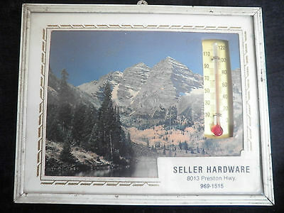 """Hardware Store Advertising Thermometer  5"""" x 4"""" Mountains Picture"""