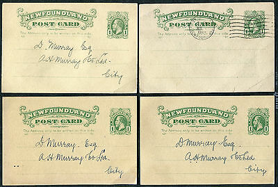NEWFOUNDLAND #UX13a on Postcard Lot of 4 1930-37 One Cent Green - King George V