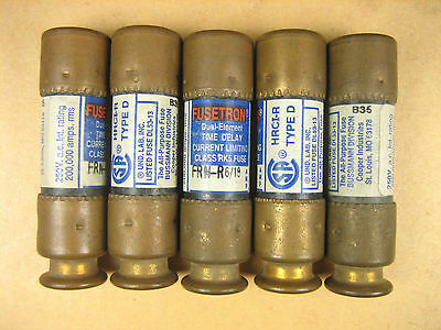 Bussman Fusetron -  FRN-R 6/10 -  Dual Element Time Delay Fuse (Lot of 5)