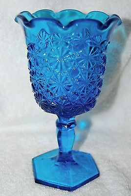 """EAPG """"BUTTONS & BOWS"""" SCALLOPED PEDESTAL TURQUOISE VASE"""