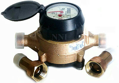 """Lead-Free 5/8"""" x 3/4"""" Water Meter US Gallon  Badger Model 25 with Couplings"""