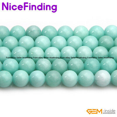 """6,8,10mm Round Sky Blue Jade Stone Beads For Jewelry Making Loose Beads 15"""" DIY"""