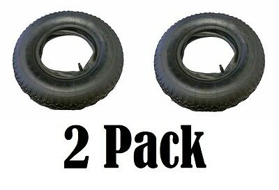 2 x 4.80 4.00 - 8 Tyre & Innertube Inner Tube Wheel Wheelbarrow STRAIGHT VALVE